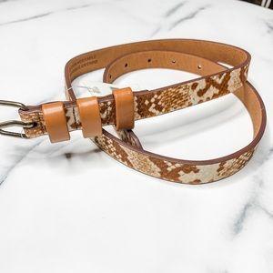 Anthropologie Animal print skinny leather belt